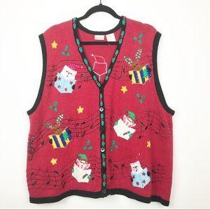 Bobbie Brooks ugly music Christmas sweater vest